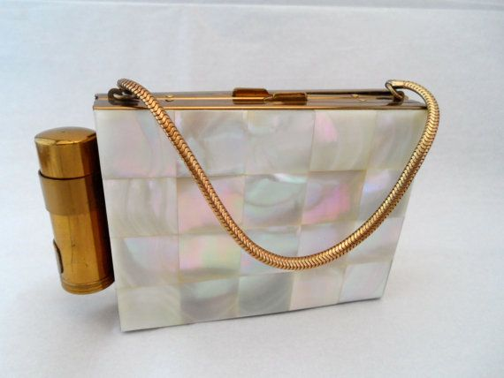 Vintage Kaycraft Mother of Pearl Compact Purse by NowAndThenShop, $85.00