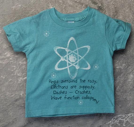 Geeky Kids Funny Quantum Physics Nursery Rhyme Toddler Short Sleeve Aqua Tshirt