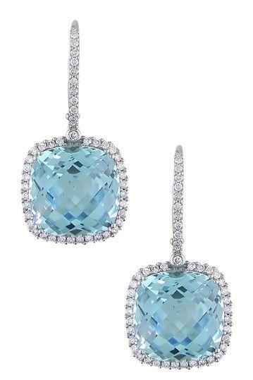 14K White Gold Pave Diamond & Blue Topaz Cushion Drop Earrings.