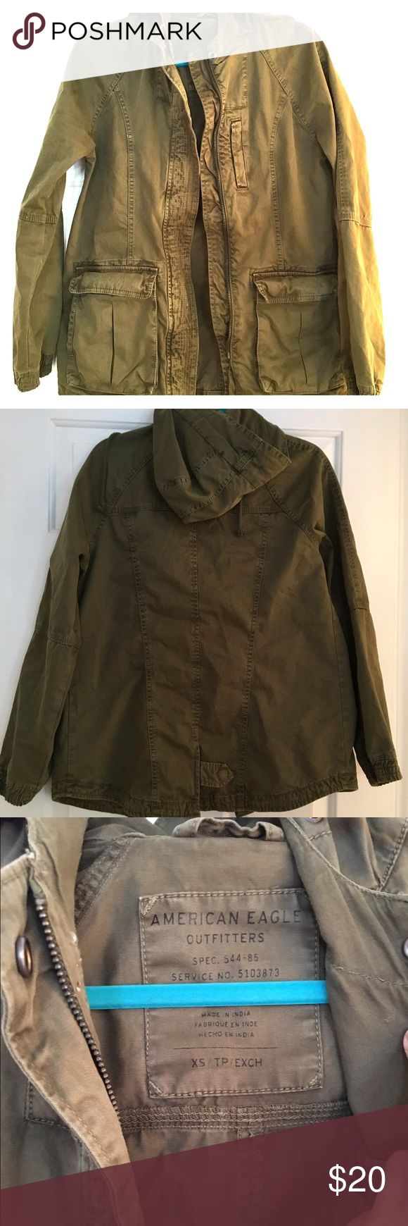 American Eagle Olive Green Military Jacket If you don't have a green military jacket in your wardrobe, you need one! It goes with EVERYTHING! It's the most perfect layer for cold spring nights. This one is particularly cute in my opinion because of the seamed detailing along the front :) . Unlined roomy XS; could also fit someone on the smaller end of small. American Eagle Outfitters Jackets & Coats