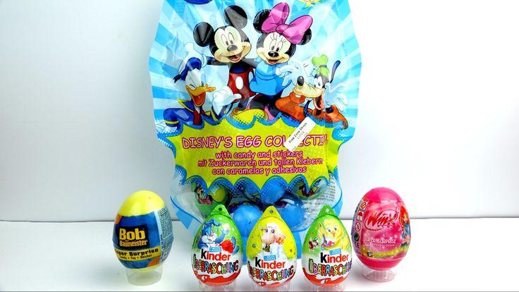 Яйца с сюрпризом Disney Киндер сюрпризы Микки Маус Бархатные ёжики Винкс...