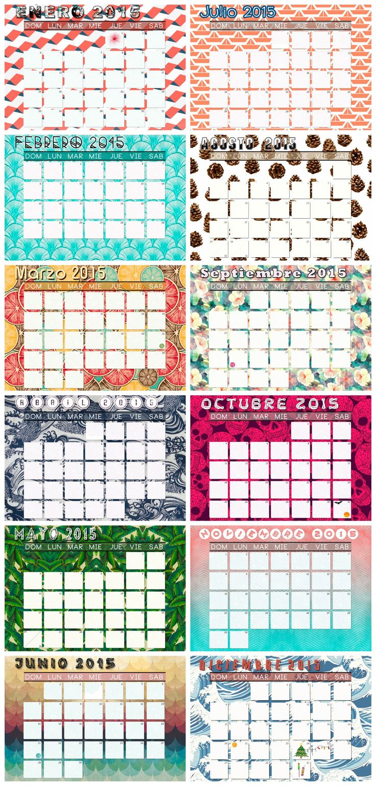 Calendario 2015 para IMPRIMIR GRATIS que hice - solo disponible en español. Debajo está el link de descarga en PDF, es algo pesado porque está en alta calidad para hasta tamaños A3. :) FREE PRINTABLE 2015 calendar I made - Only available in spanish. Scroll down for the PDF download link, it's a little bit heavy because it's in HQ and for prints up to A3. Enjoy!  https://www.dropbox.com/s/o5blbo2xrcoubgl/2015%20calendario.pdf?dl=0