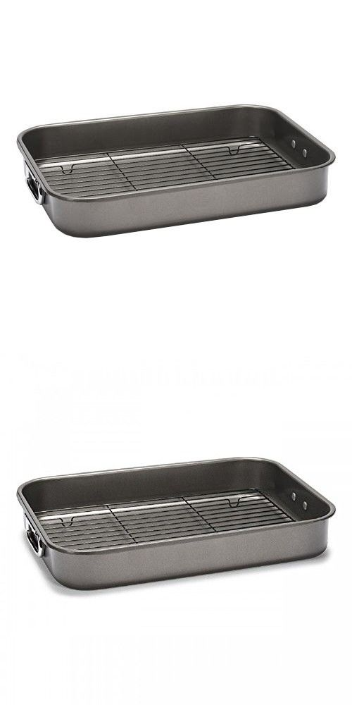 Patisse Carat Roaster Pan with Rack Heavy Duty Double Non-Stick Coating, Dark Grey Metallic