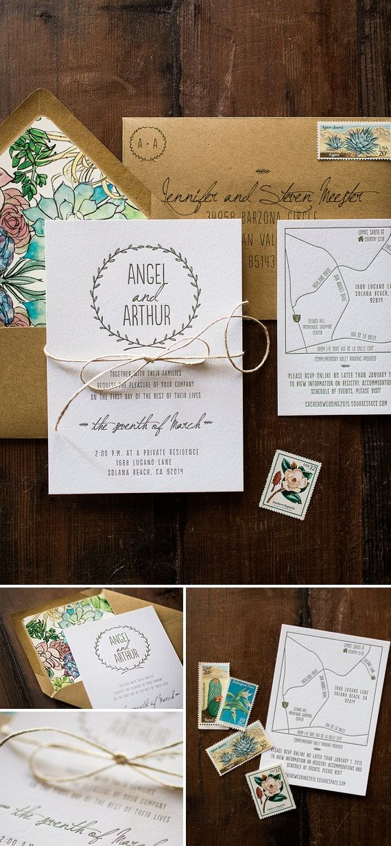 wedding invitations map%0A Letterpress Wedding Invitation  Floral and Nature Inspired
