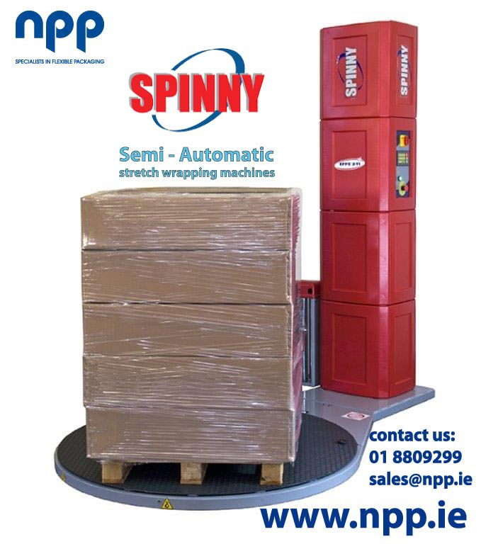NPP now offer the versatile SPINNY range of Semi - Auto Stretch Wrapping Machines in Ireland. 10 reasons why you should choose a SPINNY palletwrap machine  http://www.npp.ie/industrial/pallet-wrap-machinery/