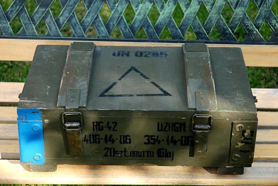 Vintage Wooden Military Box Wood Explosive Box Grenade