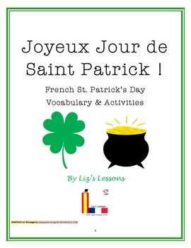 $ This document includes Saint Patrick's Day vocabulary and activities.