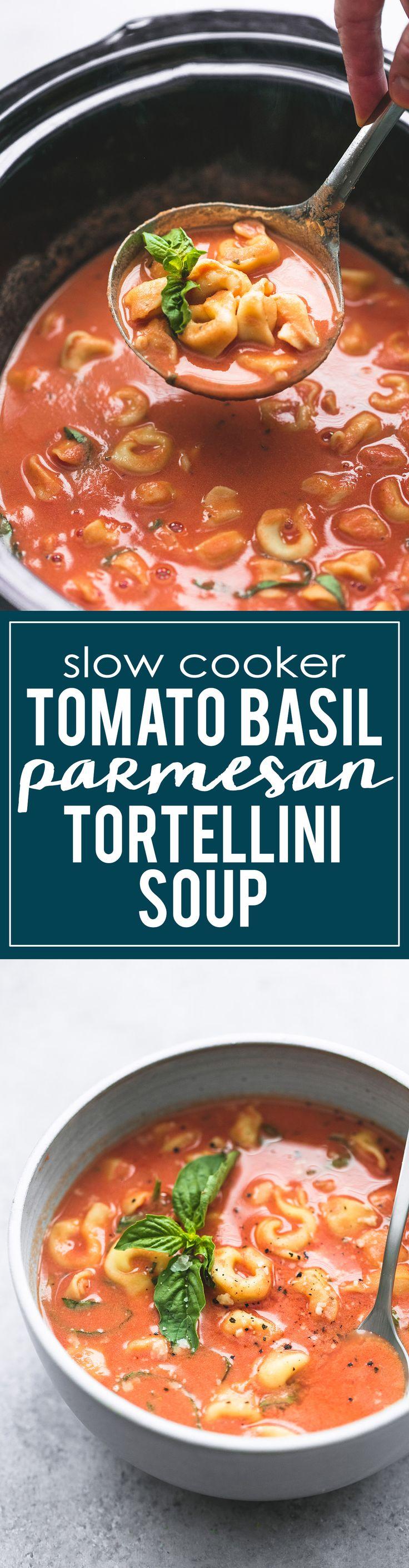 Slow Cooker Tomato Basil Parmesan Soup | lecremedelacrumb.com