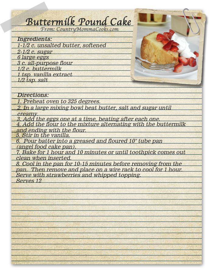 Buttermilk Pound Cake Vintage recipe