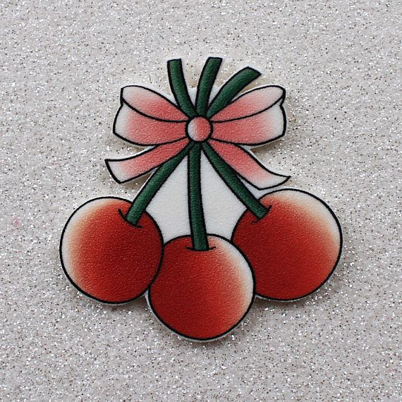 Cherry Bunch brooch or magnet