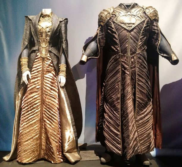 """Costumes for """"Lara Lor-Van"""" (as worn by Ayelet Zurer) & """"Jor-El"""" (as worn by Russell Crowe) from 'Man of Steel' 2013. Costumes designed by James Acheson and Michael Wilkinson."""