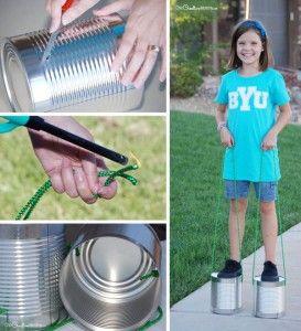 5. Simpaticele picioroange! Aveti nevoie de:  cutii de conserve inalte (sau cutii de vopsele) sfoara  Spor la joaca!