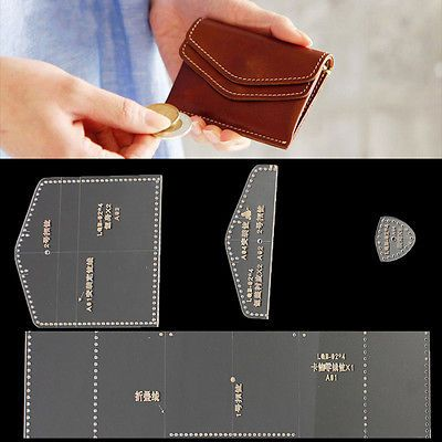 Clear Acrylic Leather Template Set for Leathercraft transparent Wallet Pattern