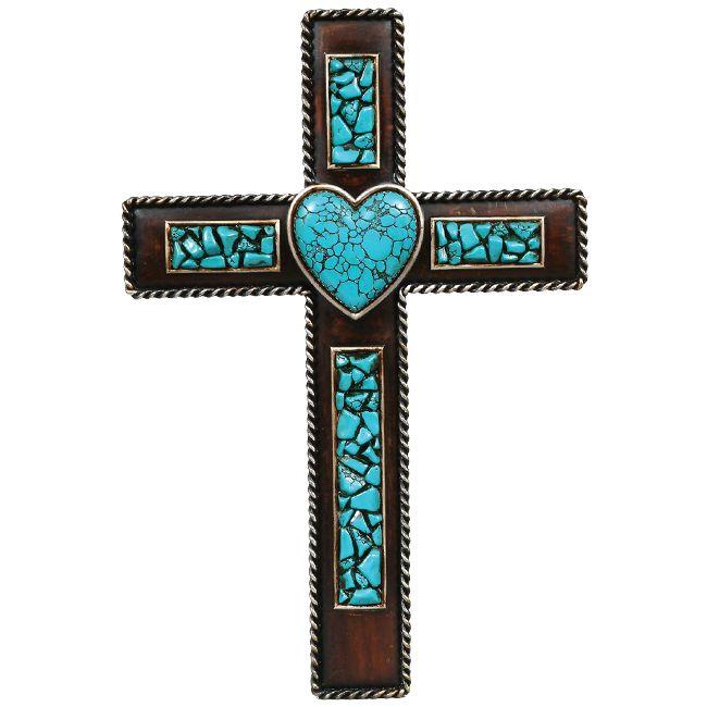 Turquoise Heart Wall Cross