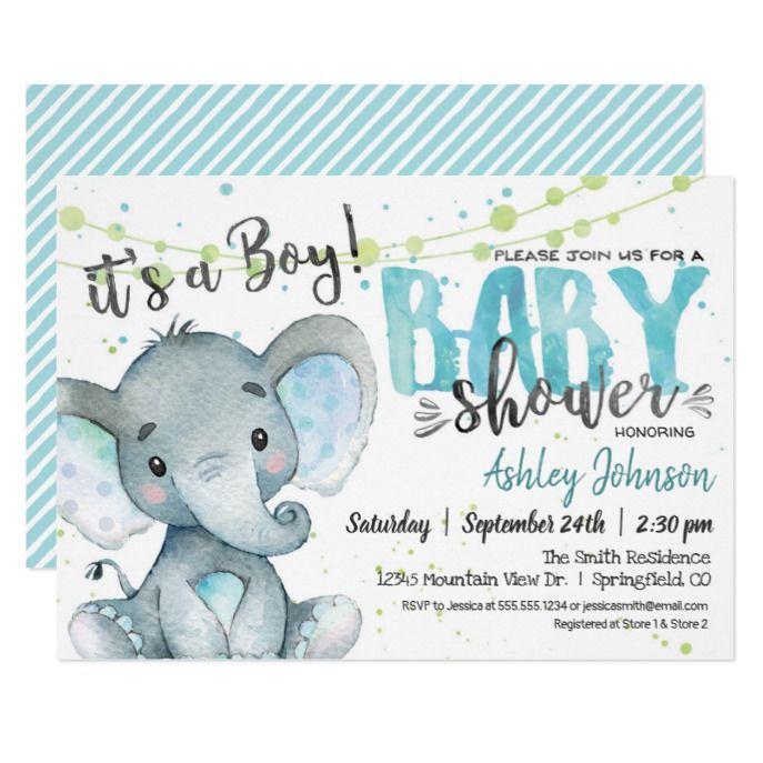 Elephant Baby Shower Invitation Boy Zazzle Com
