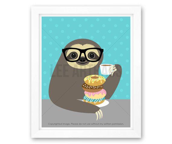 3J - Sloth Drawing - Sloth Eating Stack of Donuts Wall Art - Donut Print - Donut…