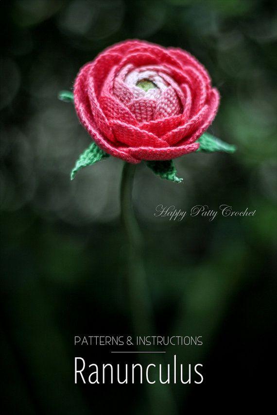 Crochet Ranunculus Pattern by Happy Patty Crochet @ Etsy // Crochet Flower Pattern