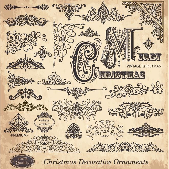 Free Vector Set Of Victorian Style Merry Christmas Vintage