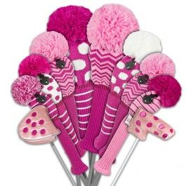 New! Just4Golf Deep Pink Ladies Golf Club Covers. Mix and match to create your own headcover set!