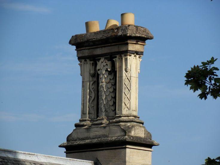 Birstall: Gothic revival chimney stack with drunken chimney pots