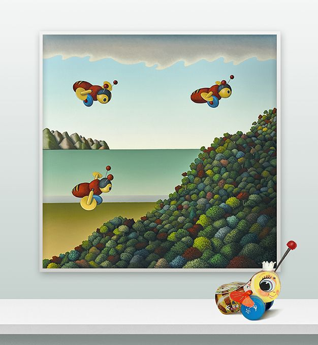 Iconic Kiwiana - the Buzzy Bee gets busy! 'Busy Bees by Christchurch artist, Hamish Allan.  Available as art-prints and cards from www.imagevault.co.nz, New Zealand.
