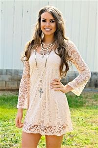southern boutique, She's In Love Lace Dress - Nude