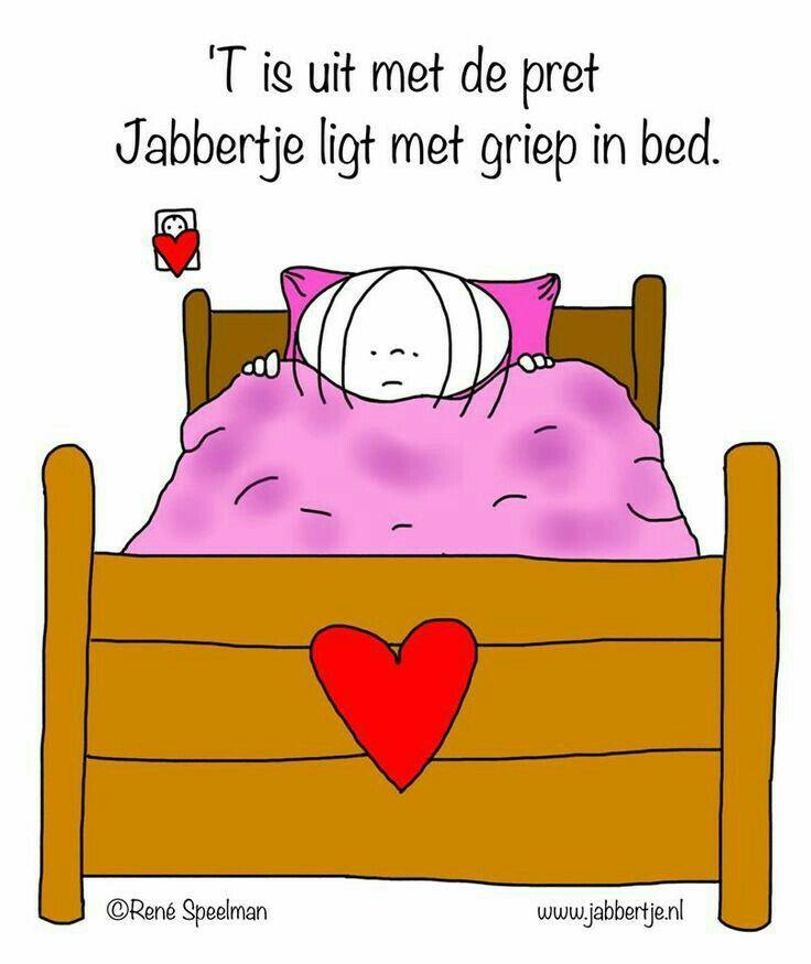 Met griep in bed!