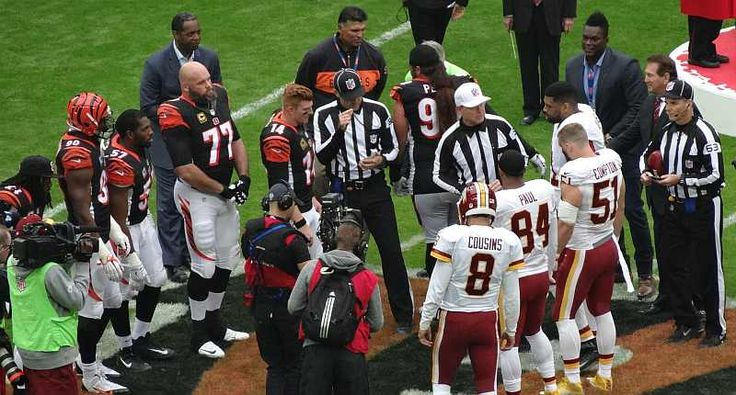 Coin toss at Wembley for Washington Redskins and Cincinnati Bengals game during NFL London 2016.