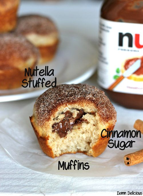Damn Delicious, #MuffinMonday: Nutella Stuffed Cinnamon Sugar Muffins