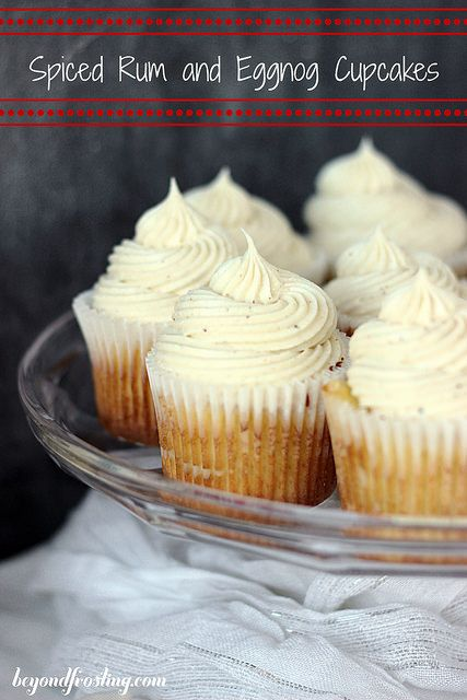 Spiced Rum and Eggnog Cupcakes with Eggnog Buttercream