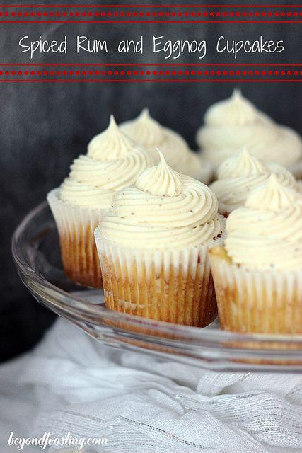 Spiced Rum and Eggnog Cupcakes with Eggnog Buttercream