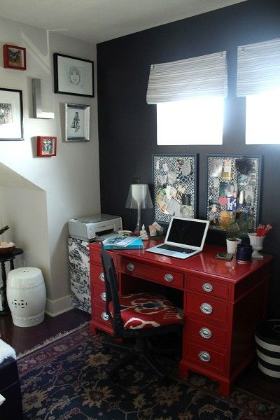 I need to convert my office space to look like this!...love that red desk! and it doesn't look like too much with the black wall either! <3
