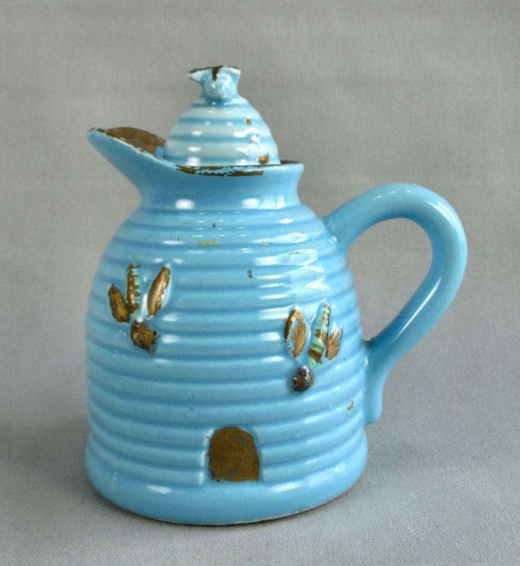 Vintage Beehive HoneyPot Pitcher Blue Glaze Gold Trim Honeybees Corked Unmarked