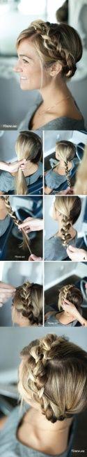 Коса-корона из косы с распущенными звеньями → Фото-урок