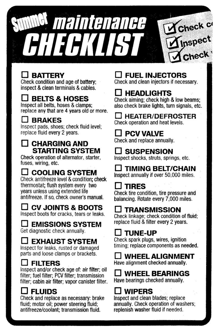 A Very Thorough Car Maintenance Check List