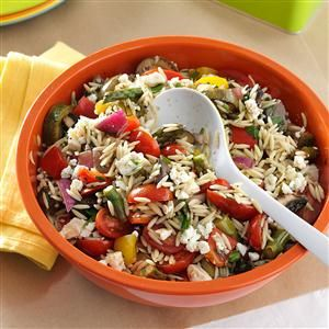 Grilled Vegetable Orzo Salad Recipe -Vegetables that are in season make great additions to this orzo salad. It's the perfect side dish for a picnic, it can easily be doubled for a crowd, or you can add grilled chicken to make it a filling entree. —Danielle Miller, Westfield, Indiana