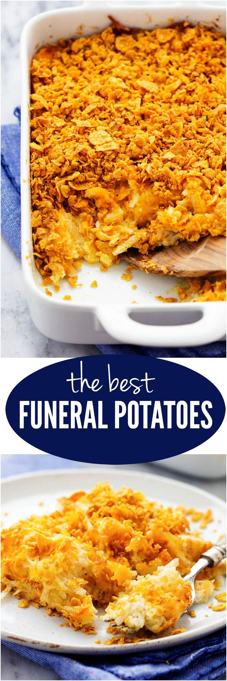The Best Funeral Potatoes - A cheesy potato casserole full of melted cheese, sour cream, onions, and garlic with a crunchy top. This is full of amazing flavor and will be the star of the dinner table! (potatoe casserole recipes chicken)