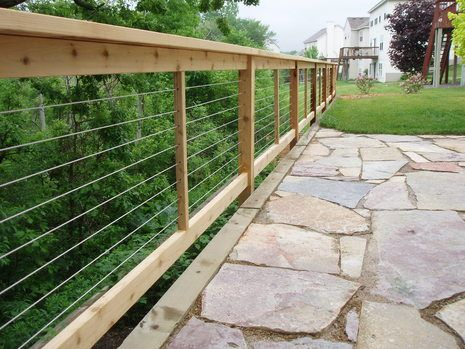 cable rail fence for maximum visibility - Patio Fencing Ideas