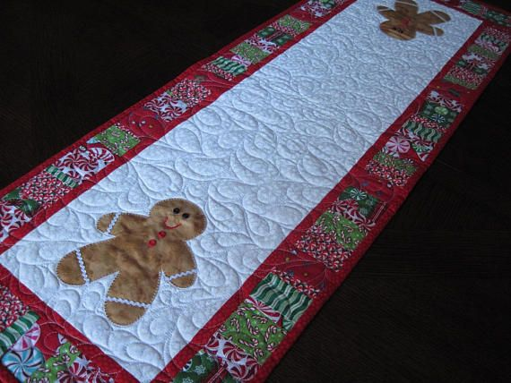 Gingerbread Man Quilted Christmas Table Runner Gingerbread Quilt Christmas Table Runner Man Quilt