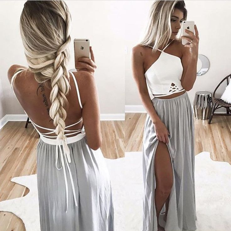 Simple V-neck Floor Length Split Backless Gray Prom Dress with Pleats