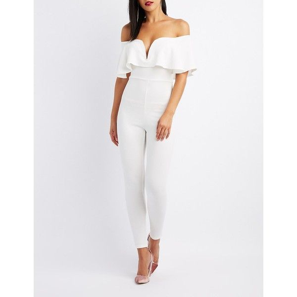 Charlotte Russe Notched Off-The-Shoulder Ruffle Jumpsuit ($24) ❤ liked on Polyvore featuring jumpsuits, white, off the shoulder jumpsuit, off the shoulder ruffle jumpsuit, short sleeve romper, off the shoulder romper and fancy romper