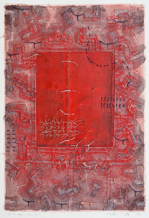 Takahiko Hayashi - painting, collage on paper, 2012  http://takahikohayashi.tumblr.com/post/45148692953/d-19-nov-2012-43x29-5cm-painting-collage-on-paper