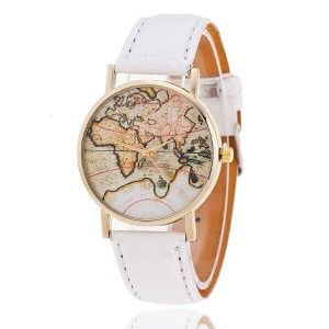 MAP LEATHER WATCH WHITE