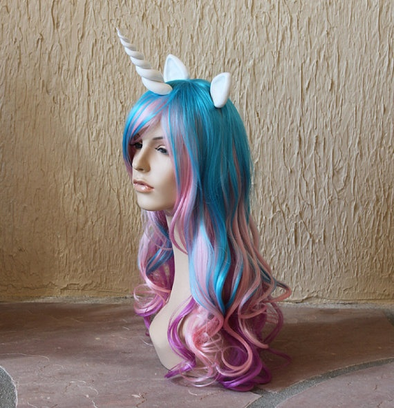 Princess Celestia Costume Cosplay Wig Blue Purple Pink