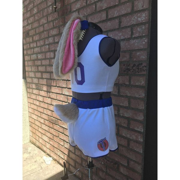 Lola Bunny Space Jam Tune Squad Uniform Cosplay Costume with ears/tail... ($265) ❤ liked on Polyvore featuring costumes, bunny tail costume, cosplay costumes, bunny costume, tail costume and blue wig costume