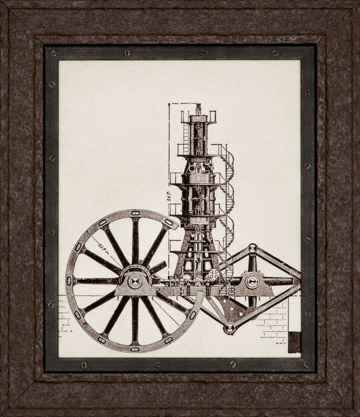 Larson-Juhl's newly expanded industrial Anvil collection surrounds this funky steampunk artwork with an oiled steel custom frame finish.