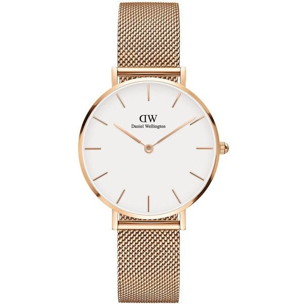 Daniel Wellington Classic Petite Stainless Steel Melrose White Dial... ($179) ❤ liked on Polyvore featuring jewelry, watches, gold, stainless steel watches, 18k watches, daniel wellington, water resistant watches and rose jewelry