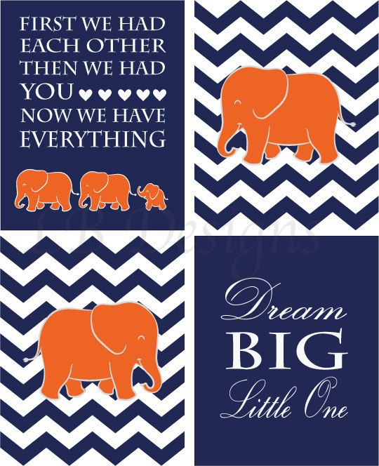 Orange and Navy Blue Elephant Nursery Quote Print by LJBrodock