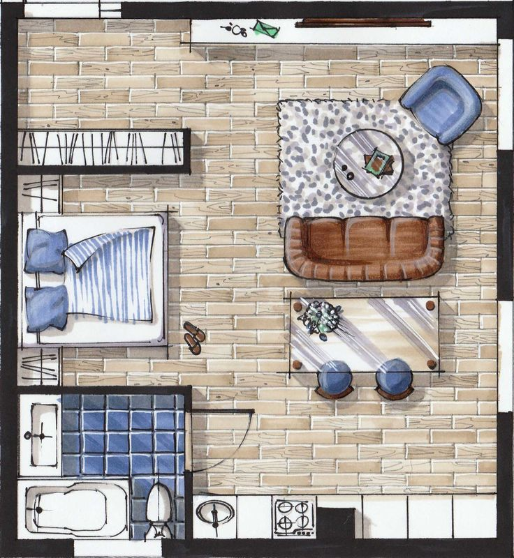 """This course is a shortcut to an outcome. Save your extremely valuable time. Get awesome results. Sketch-plan from e-course on hand rendering with markers (""""Basic"""" level) for interior designers. Now you can get my FREE (!) tutorial on """"HOW TO CREATE BEAUTIFUL SKETCH-PLAN in 10 STEPS""""."""