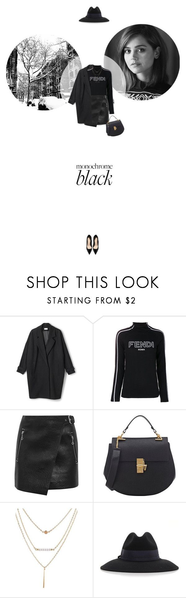 // 1334. Monochrome: All Black Everything. by lilymcenvy on Polyvore featuring Fendi, Étoile Isabel Marant, Chloé, Federica Moretti and allblack